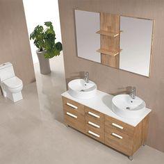Très en vogue, le bois clair s'invite dans toutes les pièces de la maison. Et votre salle de bain s'habille ainsi de bois naturel pour une atmosphère zen avec ce meuble double vasque et son panneau avec 2 miroirs et 2 tablettes.