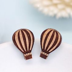 Wooden Hot Air Balloon Stud Earrings from Maria Allen Boutique
