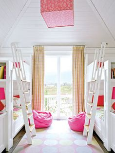 All white room with built in bunk beds and dressers with bright pink accents. Twin Girl Bedrooms, Shared Bedrooms, Girls Bedroom, Twin Girls, Bedroom Ideas, Bed Ideas, Bedroom Decor, Bunk Rooms, Bunk Beds