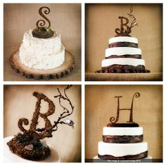 initial rustic wedding cake toppers Rustic Wedding Cake Toppers