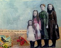 vintage young girls original mixed media portrait painting by MaudstarrArt, Mixed Media Painting, Mixed Media Collage, Collage Art, Photomontage, Collages, Altered Book Art, Mixed Media Journal, Portraits, Canadian Artists