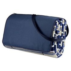 Picnic Time Outdoor Blanket Tote XL – Navy Stripes