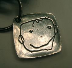 Your Childs Artwork Made into a Key Fob or Pendant. -Solid Silver-As Featured in ETSY FINDS - made to order-click to see more images. $80.00, via Etsy.