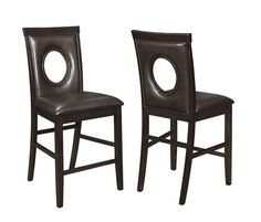 Shop 2 Stapleton Cappuccino Leatherette Oval Cutouts Counter Height Chairs with great price, The Classy Home Furniture has the best selection of to choose from Coaster Furniture, Cool Furniture, Counter Height Chairs, Furniture Manufacturers, Quality Furniture, Bar Stools, Coasters, Dark Brown, Home Decor