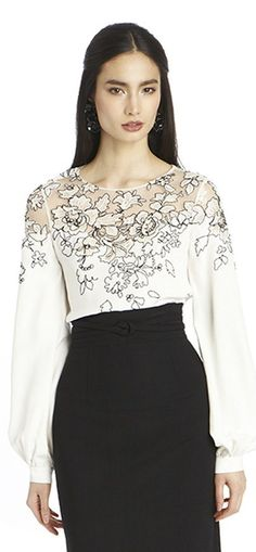OSCAR DE LA RENTA LONG SLEEVE SILK LACE EMBROIDERED BLOUSE