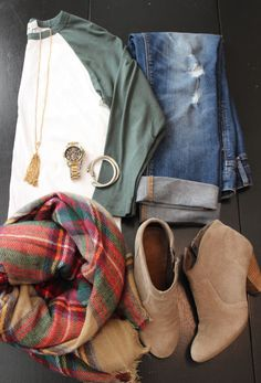 Fall style.. plaid scarf, booties, distressed denim, baseball tee, & awesome jewels.