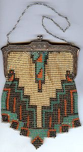Antique 1920s Aqua Coral Black Cream Mesh Art Deco Purse