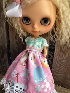 dolly molly FROZEN dress and bow for BLYTHE doll by dollymolly, $25.00