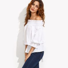 SheIn Casual Summer Tops For Women Plain White Three Quarter Length Sleeve Off The Shoulder Bow Tie Back Slim Blouse