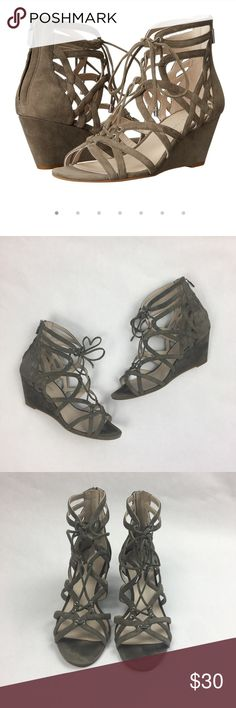 Kenneth Cole New York Dylan Wedge Sandal size 10 Kenneth Cole New York Dylan Wedge Sandal. Color is Elephant. Very good condition.  Only worn a few times.  Stylish gladiator sandal set on a covered wedge heel. Lace up style with back zip closure. 2 1/2 inch heel. Kenneth Cole Shoes Sandals