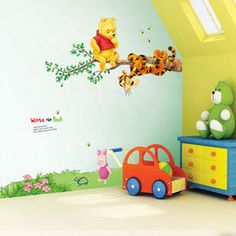 winnie the pooh decorations for baby room | ... Stickers-Winnie-the-Pooh-Baby-Room-Nursery-Decals-Decor-Vinyl-Mural