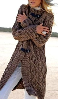 Chunky Knitted Cardigan Plus Size Outerwear Trendy Outfits, Cute Outfits, Fashion Outfits, Fashion Trends, Women's Fashion, Sweater Coats, Knit Cardigan, Sweaters, Knitwear