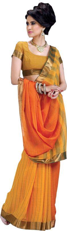 SareeStudio Yellow Orange Wedding Wear Saree Zari Designer Work Cotton Sari #SareeStudio