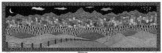 Mountain Town, 7x22, black pen on paper