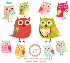 Owls SET - 01 (6 inch) Clip Art - bird. $4.50, via Etsy. These would be fun to play with!