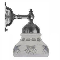 Adelborg förnicklad med slipat mattglas (badrumslampa)