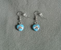Turquoise Heart Toggenburg Earrings-Hand Painted by TandPCrafts on Etsy