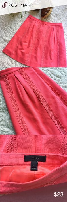 """J. Crew Coral Skirt Fun coral skirt featuring back zip closure, light pleating, vertical lace appliqués and the best part...pockets!!!! Length measures 18"""" J. Crew Skirts"""