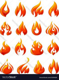 Illustration of Fire flames, set red icons vector art, clipart and stock vectors. Drawing Flames, Fire Drawing, Fire Painting, Rainbow Painting, Free Vector Images, Vector Art, Tatto Mini, Emoji Tattoo, Bull Tattoos