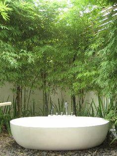 20 New Ideas For Bathroom Spa Bamboo Outdoor Showers, … - Modern Outdoor Bathtub, Outdoor Bathrooms, Outdoor Showers, Bamboo Bathroom, Bathroom Spa, Bathroom Ideas, Balinese Bathroom, Tropical Bathroom, Green Apartment