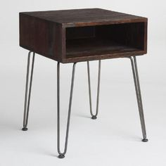 One of my favorite discoveries at WorldMarket.com: Rustic Brown Wood and Metal Cubby Accent Table