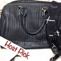 """Black Woven Front Bag Gorgeous faux leather bag. Very roomy. Only used a few times. Like new condition. No stains, holes, rips, etc. Has adjustable strap. Strap length at longest: 56"""", Width: 5.5"""", Height: 9"""", Length: 14"""". Brand is Black Rivet. Has 2 pockets inside, one inside zipper pocket, one outside zipper pocket.  ✅ Bundle and save on shipping! ✅ All reasonable offers are considered.  ✅ I always ship right away.  ❌ Trades ❌ Lowballing Black Rivet Bags"""