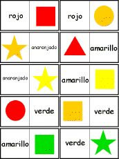 Spanish Color Dominoes, A Printable Game - EnchantedLearning.com