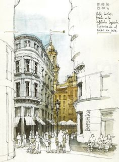 architecture sketch - crowded street, Madrid by Luis_Ruiz Sketch Painting, Watercolor Sketch, Drawing Sketches, City Drawing, Drawing Ideas, Travel Sketchbook, Art Sketchbook, Sketchbook Inspiration, Urban Sketchers
