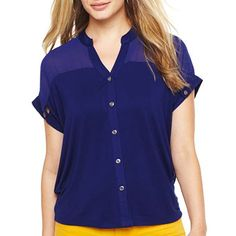 a.n.a® Chiffon Button-Front Top - jcpenney/PL