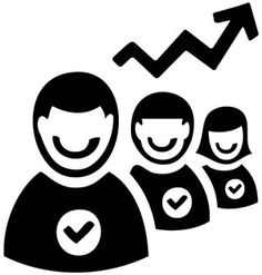 productivity icon - happy workers