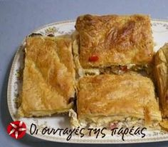 A delicious easy Kotopita (Chicken Pie) with vegetables and bechamel made using puff pastry but also other types of phyllo pastry. Gyro Pita, Savory Muffins, No Bake Pies, Greek Recipes, Yummy Recipes, Spanakopita, Yummy Food, Snacks, Chicken