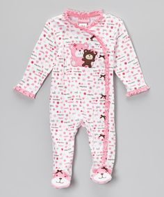 Take a look at this White & Pink Bear Ruffle Footie - Infant on zulily today!