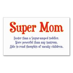 funny super mom gifts and cards for your super mom business card