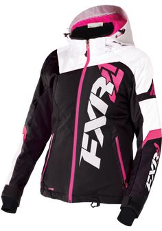 FXR Womens Black/White Tri/Fuchsia Revo X Snowmobile Jacket Insulated Snocross Womens Snowmobile Jackets, Snowmobile Clothing, Jacket 2017, Vest Jacket, Outerwear Women, Motorcycle Jacket, Cool Outfits, Jackets For Women, Black And White