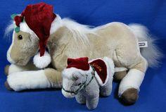 "Breyer Plush Horses 19"" Palomino Wearing Santa Hat & Small Gray Noel Pony #Breyer"