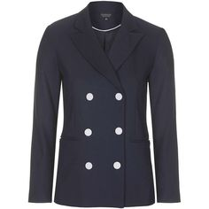 TOPSHOP Double-Breasted Button Blazer (1 065 UAH) ❤ liked on Polyvore featuring outerwear, jackets, blazers, navy blue, lined jacket, topshop, navy blazer, button jacket and navy blue double breasted blazer