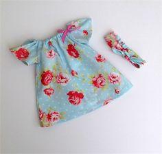 Blue Seaside Rosy Baby Peasant Dress with headband, Girl, Baby, Toddler, Newborn