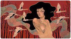 """Audrey Kawasaki - """"When It Begins"""" oil, graphite, and ink on wood panel 36""""x20"""" 'Hirari Hirari' at Merry Karnowsky Gallery 2014"""