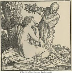 William Strang (1859-1921), Death the Lover, from the series Doings of Death, 1901, woodcut, Fitzwilliam Museum.