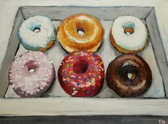 Donuts oil painting