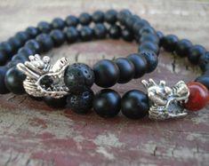 Black Silver Bracelet Onyx Bracelet Black by BigSkiesJewellery