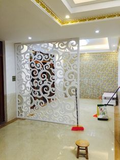 Living Room Partition Design, Pooja Room Door Design, Room Partition Designs, Home Room Design, Pvc Wall Panels Designs, Room Partition Wall, Partition Ideas, Room Interior, Interior Design Living Room