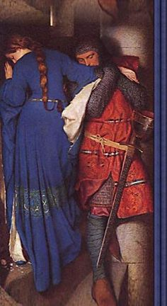 Knight and lady meet on a staircase
