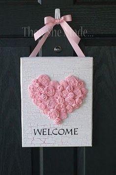 Valentine's Day Welcome Sign Craft Valentines Card Design, Fun Valentines Day Ideas, Valentine Day Wreaths, Homemade Valentines, Valentines Day Decorations, Valentine Day Crafts, Printable Valentine, Valentine Box, Saint Valentin Diy