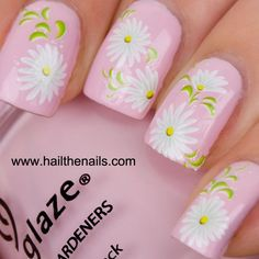 White Daisy Nail Art Water Transfer Decal
