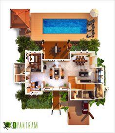 Top View 3D Virtual Floor Plan Design