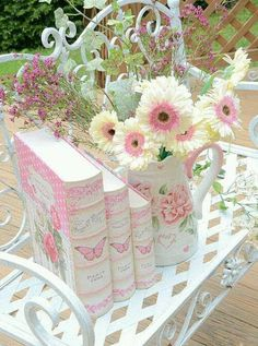 Pink Books & Flowers
