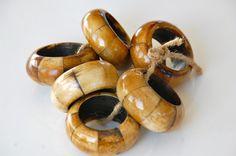 Wooden Napkin Rings | Vintage WOODEN NAPKIN RINGS, Napkin Holder, Table Decor, Dining ...