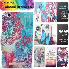 Fashion 11 Colors Cartoon Painting PU Leather Magnetic clasp Wallet Cover For Xiaomi Redmi 4A Case #Affiliate