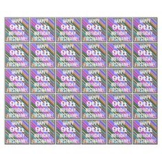 Vibrant Colorful 9th Birthday  Custom Name Wrapping Paper  $19.95  by AponxDesigns  - custom gift idea